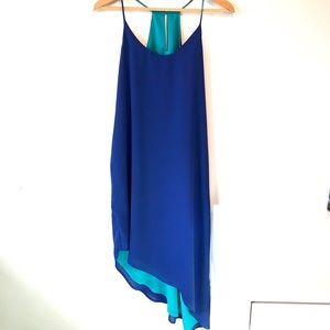 Mark. | blue flowy long asymmetrical dress